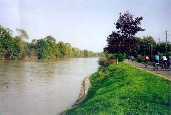 Aménagement de la Marne. Contrairement à ce que prévoyait le SDRIF l'autre berge de la Marne a été elle complétement aménagée et est donc devenu biologiquement vide (gazon et sol enroché) = disparition totale de la biodiversité !