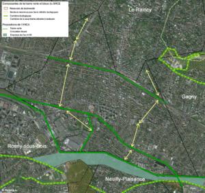Propositions de trames vertes sur la commune de Villemomble en cohérence avec les villes voisines.